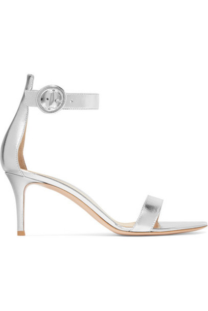 Gianvito Rossi - Portofino 70 Metallic Leather Sandals - Silver