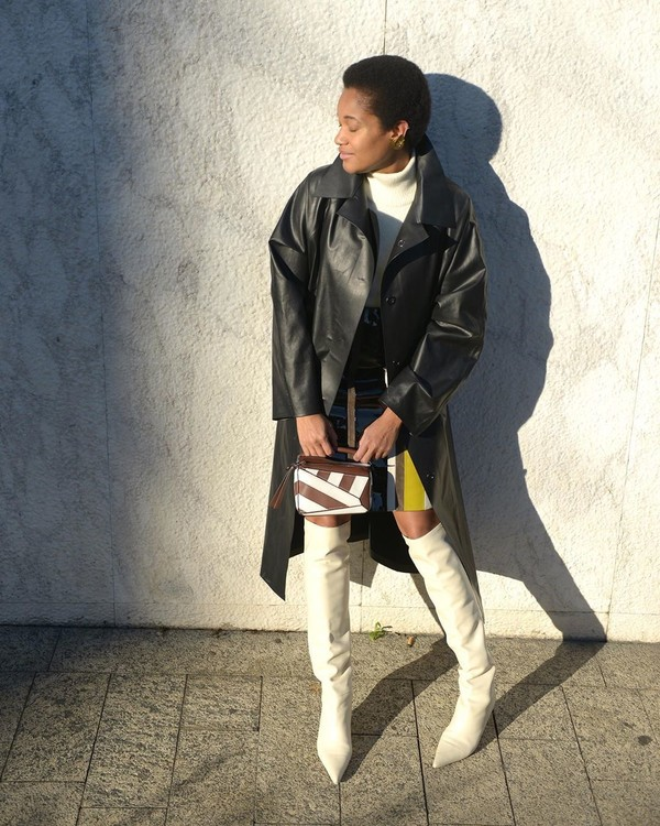 shoes over the knee boots white boots loewe bag coat leather mini skirt turtleneck