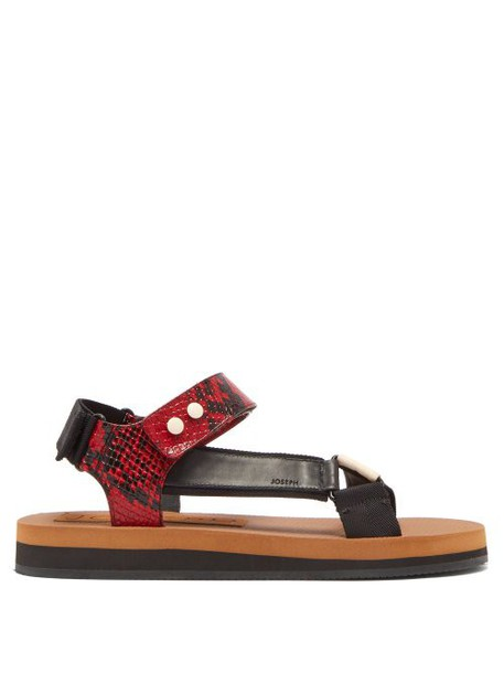 Joseph - Tri Colour Python Effect Leather Sandals - Womens - Red White