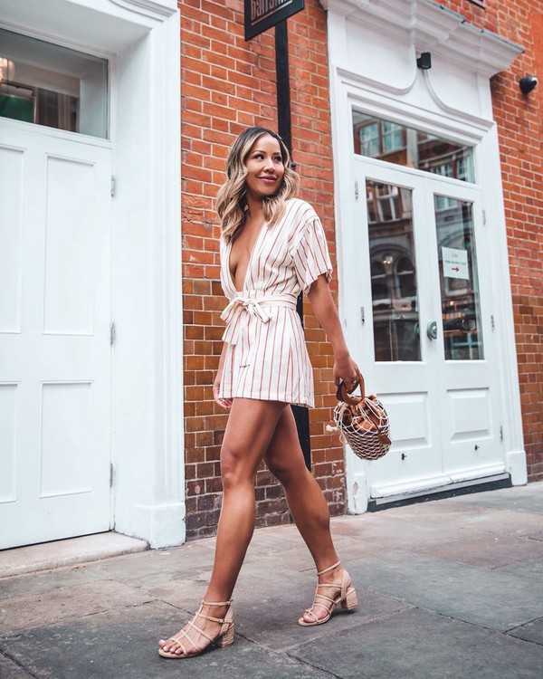 romper stripes plunge v neck short sleeve bucket bag sandal heels