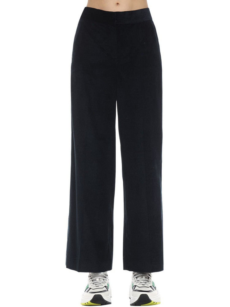 MAX MARA 'S Cropped Cotton Corduroy Pants in blue
