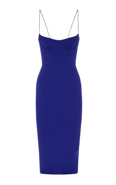 Alex Perry Avery Bodice Midi Dress Size: 4 in blue