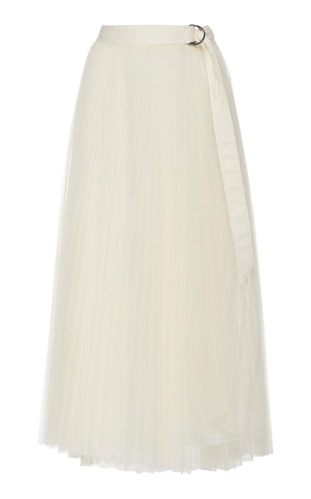 Brunello Cucinelli Pleated Tulle Midi Skirt Size: 38 in white