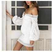 dress,off the shoulder lace embroidered dress,white dress