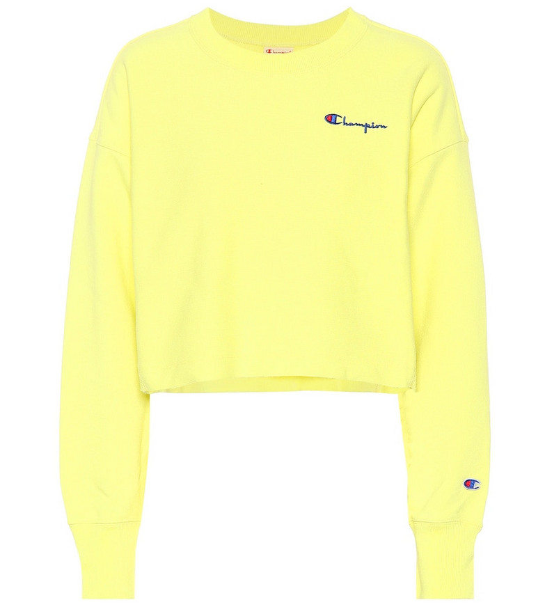 Champion Cropped cotton sweatshirt in yellow
