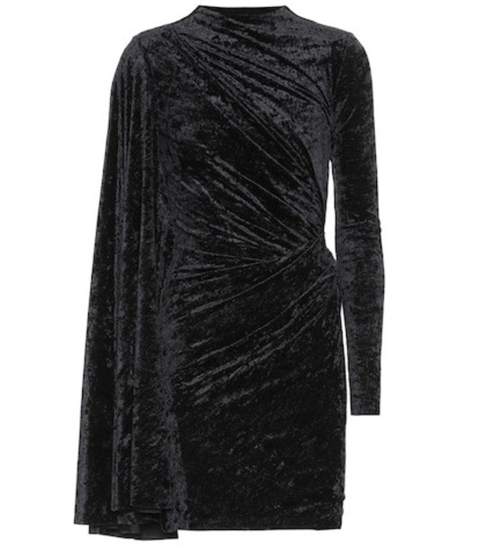 Balenciaga Crushed velvet minidress in black