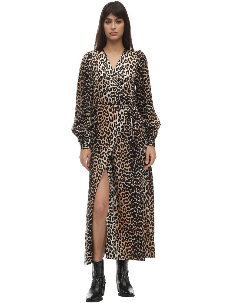 GANNI Printed Stretch Silk Wrap Dress in leopard