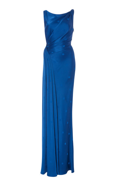 Zac Posen Polka Dot Gown in blue