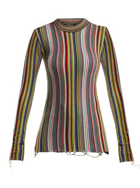 Marques'almeida - Ribbed Knit Wool Sweater - Womens - Multi
