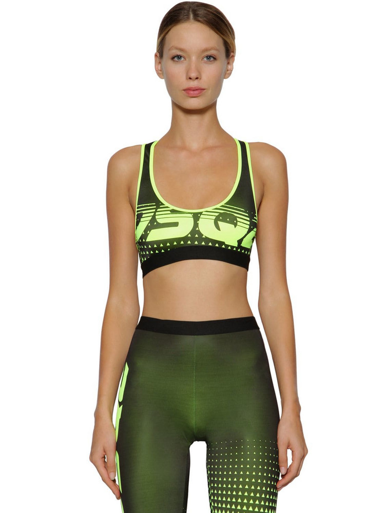 6e7fda4d81 DSQUARED2 Logo Printed Lycra Sports Bra in black   yellow