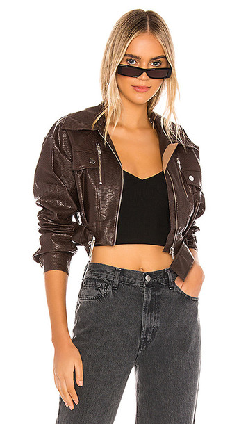 h:ours Oversized Cruze Jacket in Chocolate