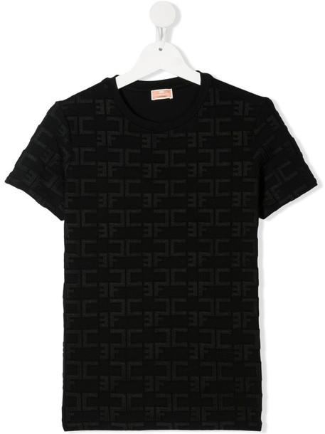 Elisabetta Franchi La Mia Bambina monogram pattern T-shirt - Black