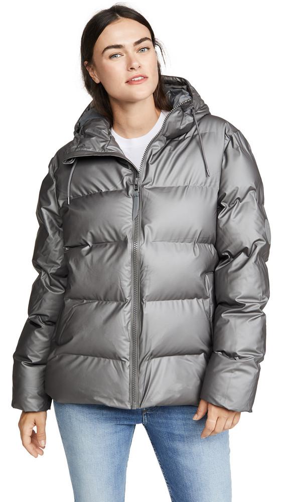 Rains Puffer Jacket in charcoal / metallic