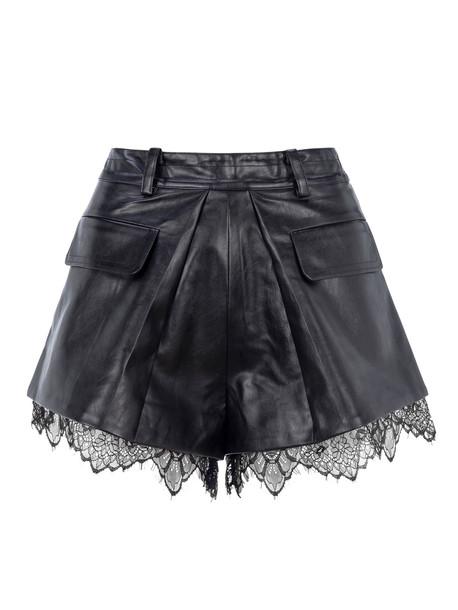 self-portrait Self Portrait Faux Leather Shorts With Lace Trim in black