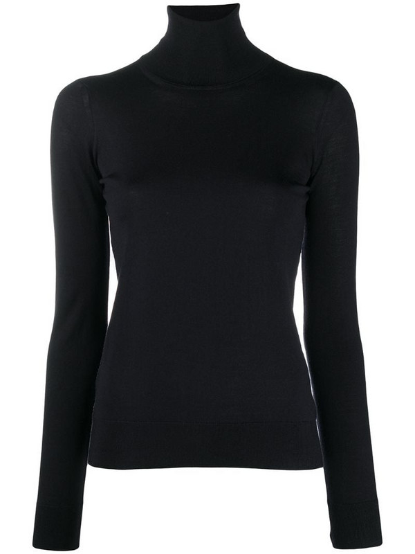 Drumohr high-neck fitted top in blue