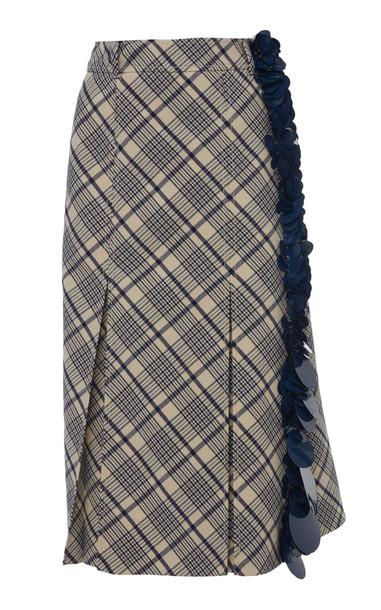 Prada Plaid Paillette Embroidered Wool Midi Skirt