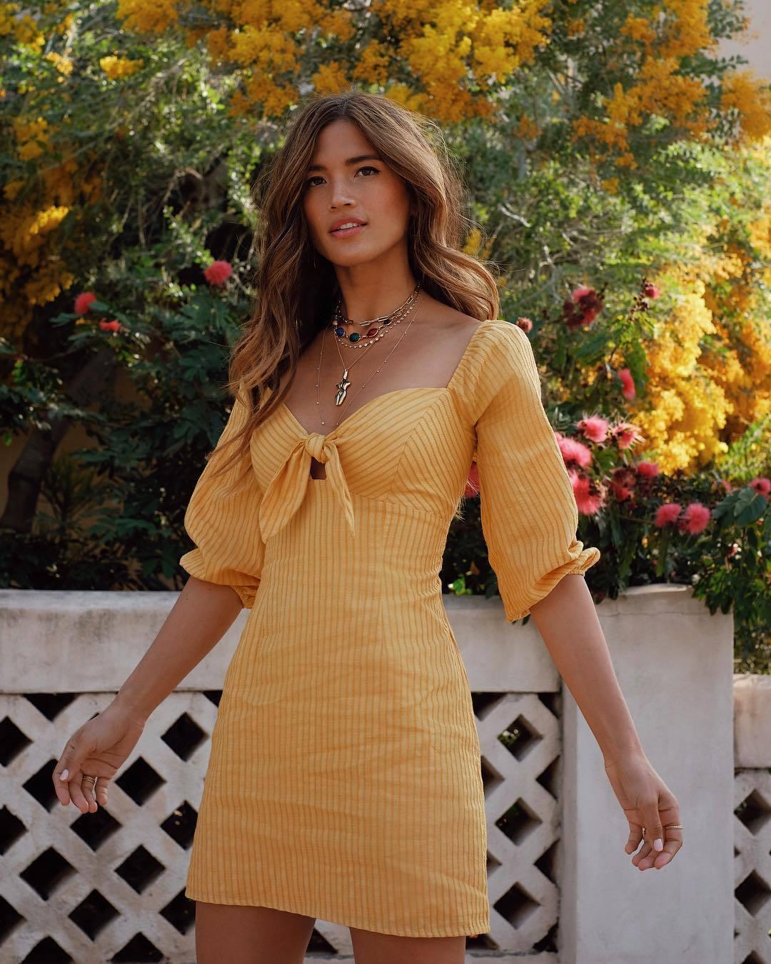 dress yellow yellow dress rocky barnes instagram blogger mini dress
