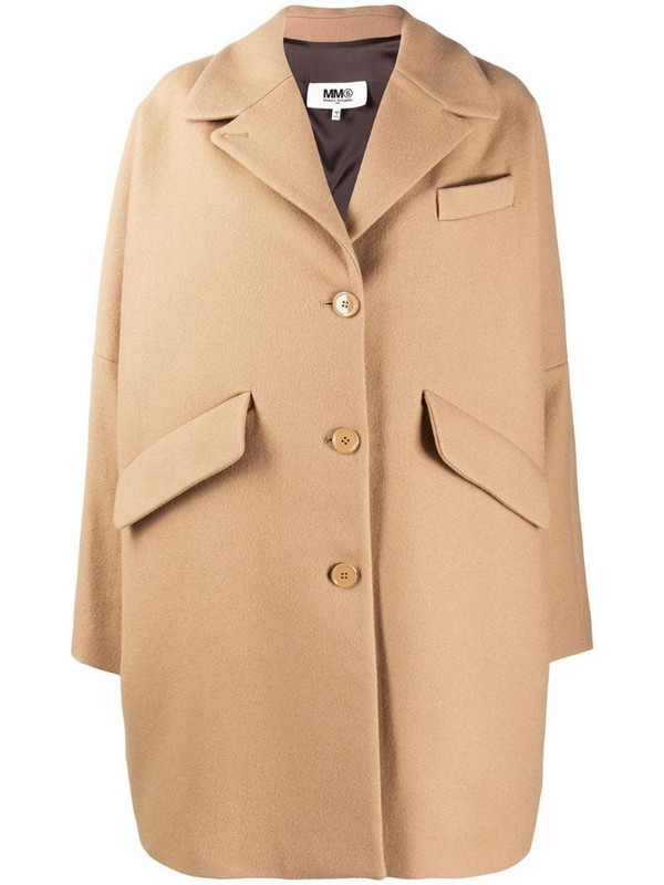 MM6 Maison Margiela single breasted cocoon coat in neutrals