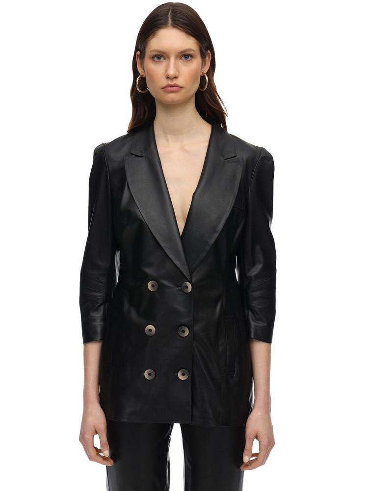 ZEYNEP ARCAY Wrapped Leather Blazer in black
