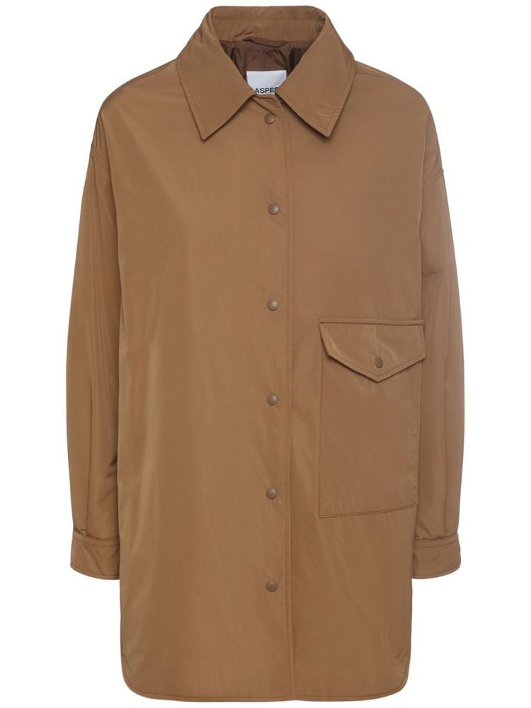 ASPESI Taffeta Padded Shirt Jacket in camel