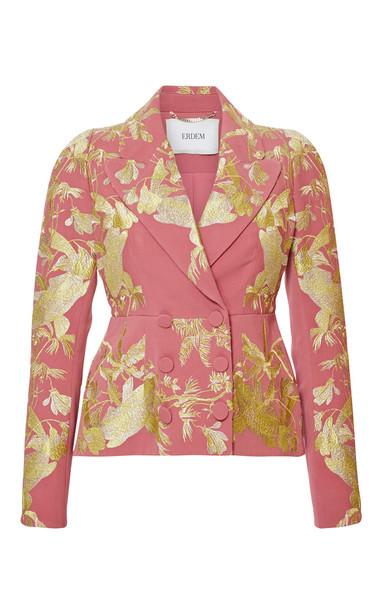 Erdem Long Sleeve Single Breasted Peplum Jacket in pink