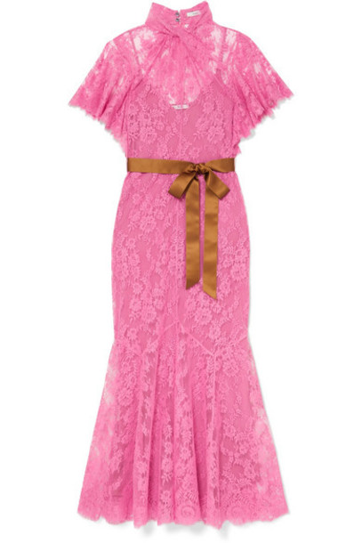 Erdem - Celestina Satin-trimmed Cotton-blend Lace Gown - Pink