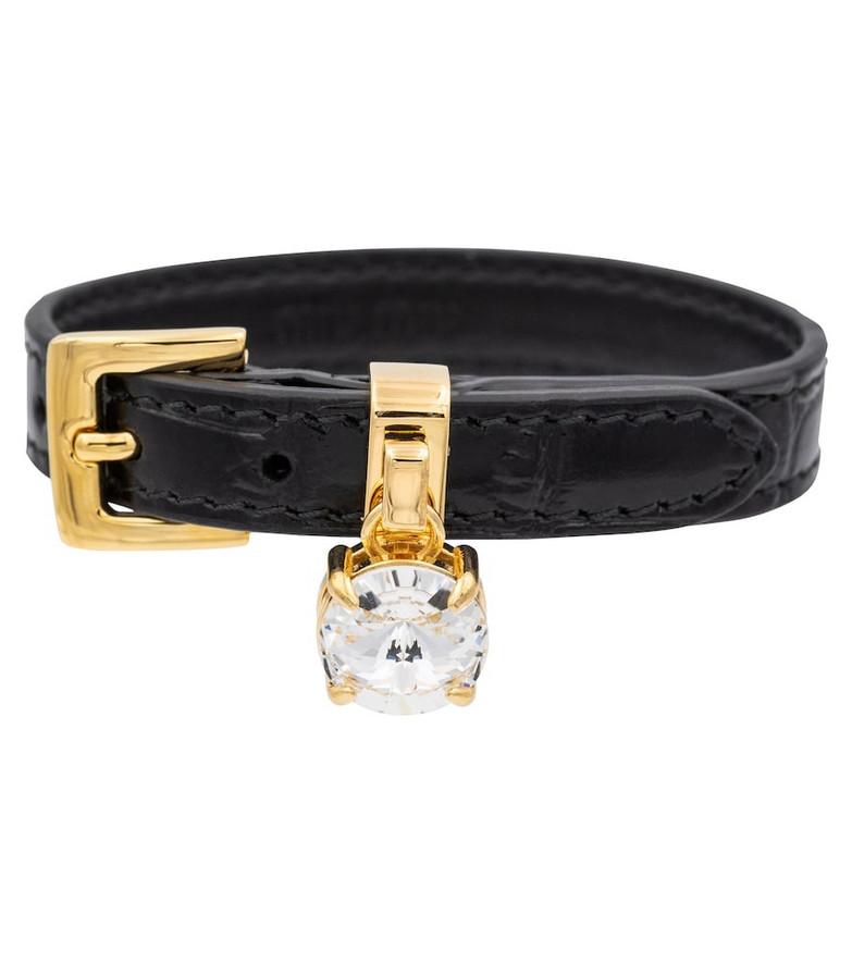 Miu Miu Croc-effect leather bracelet in black