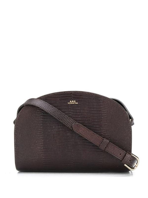 A.P.C. Demi Lune embossed shoulder bag in brown