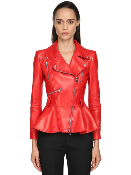 ALEXANDER MCQUEEN Lamb Leather Crop Peplum Jacket in red
