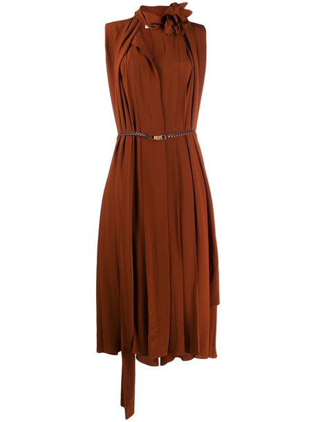 Victoria Beckham scarf neckline sleeveless dress in brown