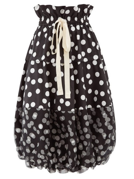 Lee Mathews - Cherry Polka-dot Cotton Balloon Skirt - Womens - Black White