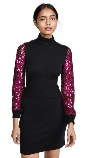 Moschino Sequin Sleeves Dress in fuchsia