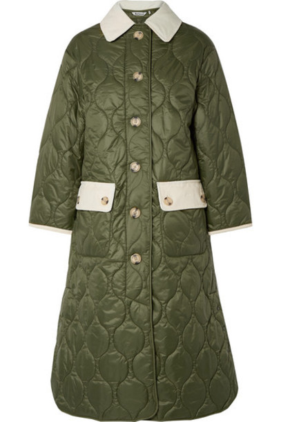Barbour - Alexachung Annie Corduroy-trimmed Quilted Shell Coat - Army green