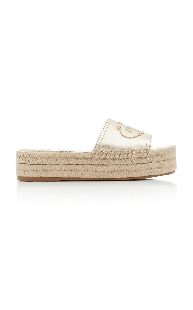 Prada Logo Slide Sandals in gold