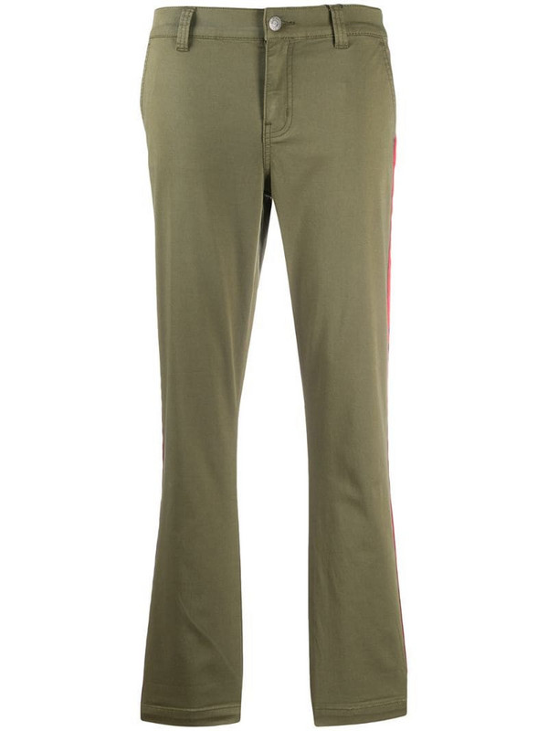 Current/Elliott Confidant side stripe slim-fit trousers in green