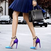 shoes,purple and blue,pointed toe,stilleto heels,ankle strap pumps,dress shoes