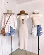 hat,top,shorts,dress