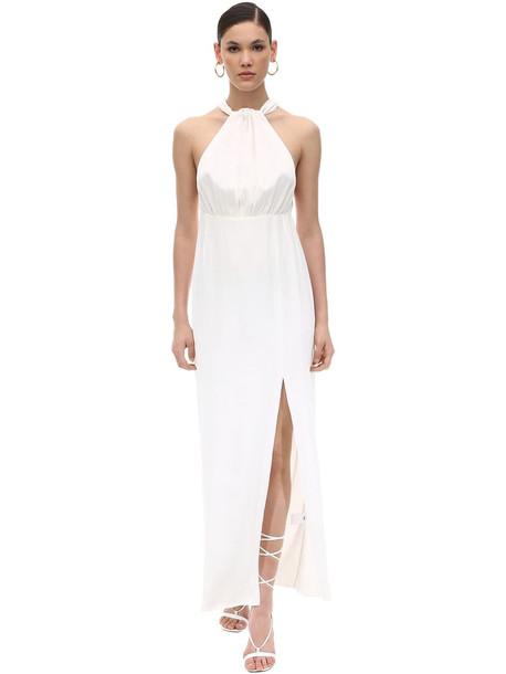 ROTATE Long Halter Neck Satin Dress in white