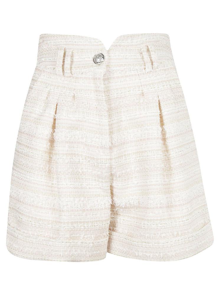 Balmain High-waist Tweed Shorts in rose