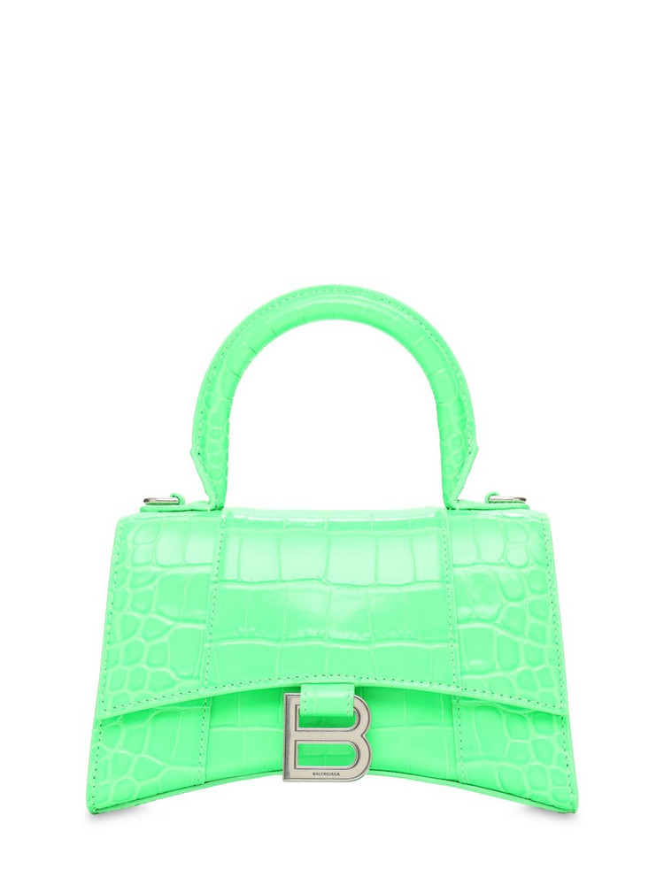 BALENCIAGA Xs Hourglass Croc Embossed Leather Bag in green