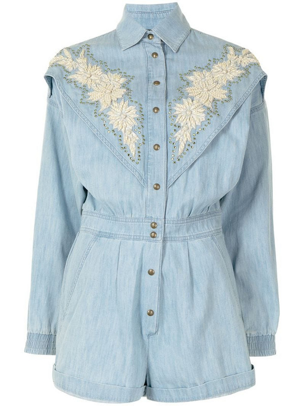 Gucci Pre-Owned Yankees denim playsuit in blue