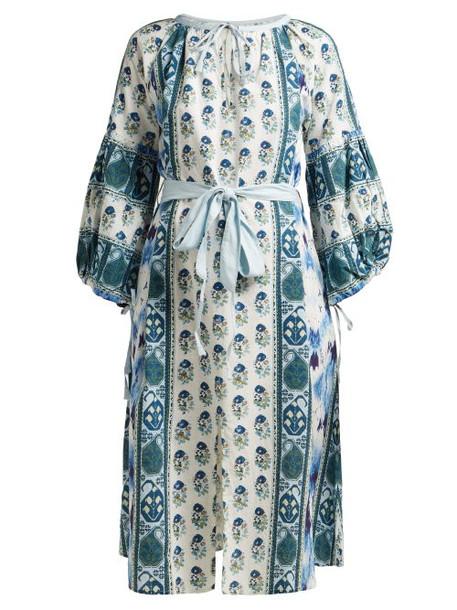 D'ascoli - Creole Balloon Sleeve Cotton Dress - Womens - Blue Print