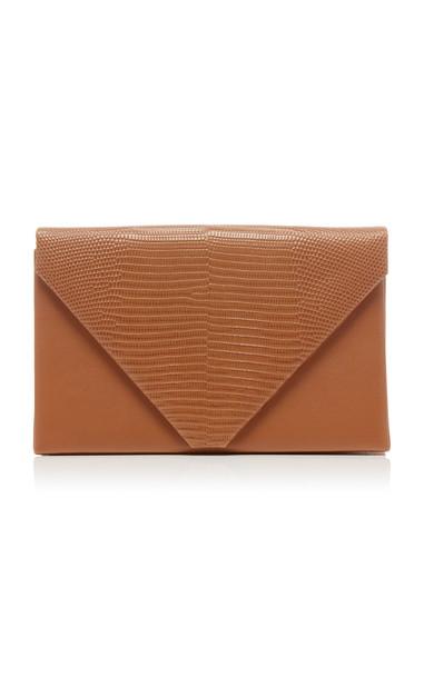 Hunting Season Lizard-Effect Leather Envelope Clutch in brown
