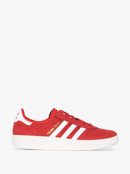 Adidas red and white Trimm Trab suede leather sneakers