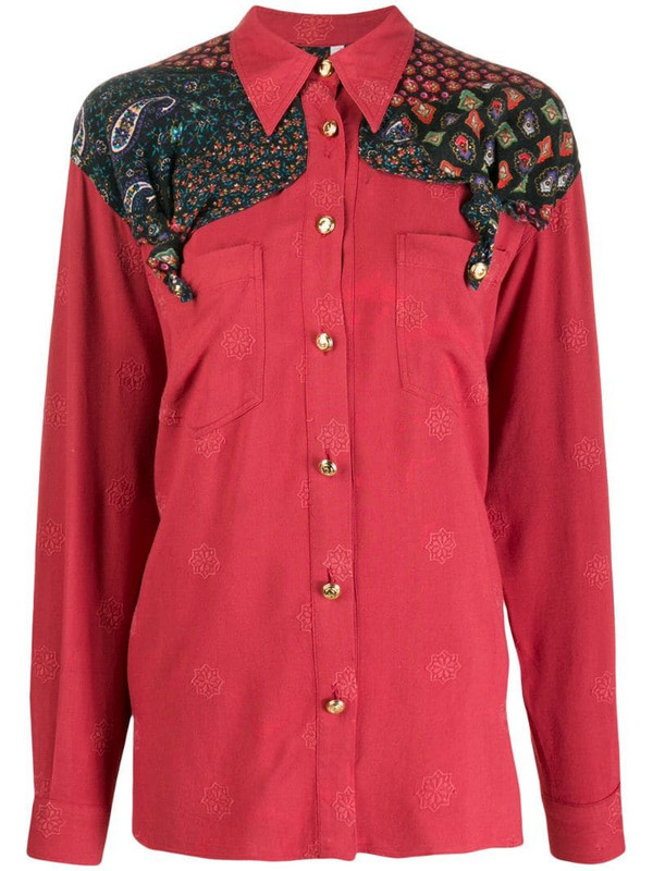 Moschino Pre-Owned 1990s paisley panel shirt in red