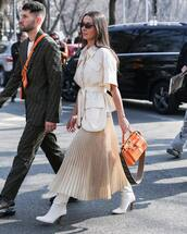 bag,leather bag,orange bag,fendi,white boots,knee high boots,heel boots,pleated skirt,midi skirt,shirt