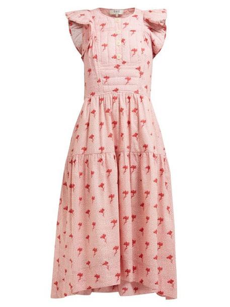 Sea - Ruffled Floral Print Cotton Midi Dress - Womens - Pink Multi