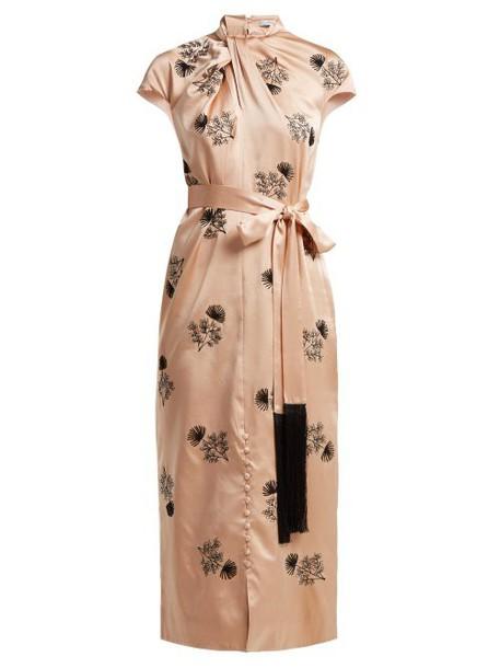 Erdem - Finn Floral Beaded Silk Satin Dress - Womens - Pink Multi