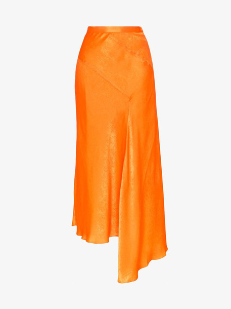HOUSE OF HOLLAND Asymmetric Midi Skirt in orange