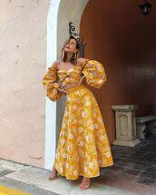 top,crop tops,yellow top,off the shoulder top,maxi skirt,yellow skirt,floral skirt,sandal heels